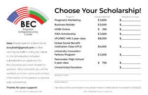 BEC Scholarship Campaign Pledge Card